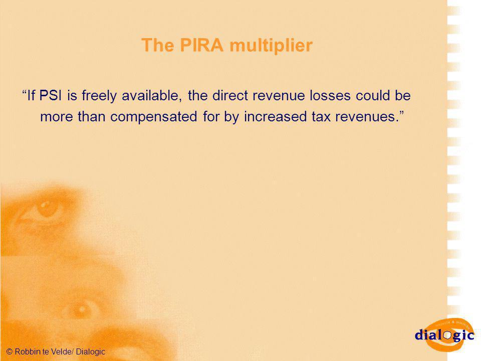 © Robbin te Velde/ Dialogic The PIRA multiplier If PSI is freely available, the direct revenue losses could be more than compensated for by increased tax revenues.