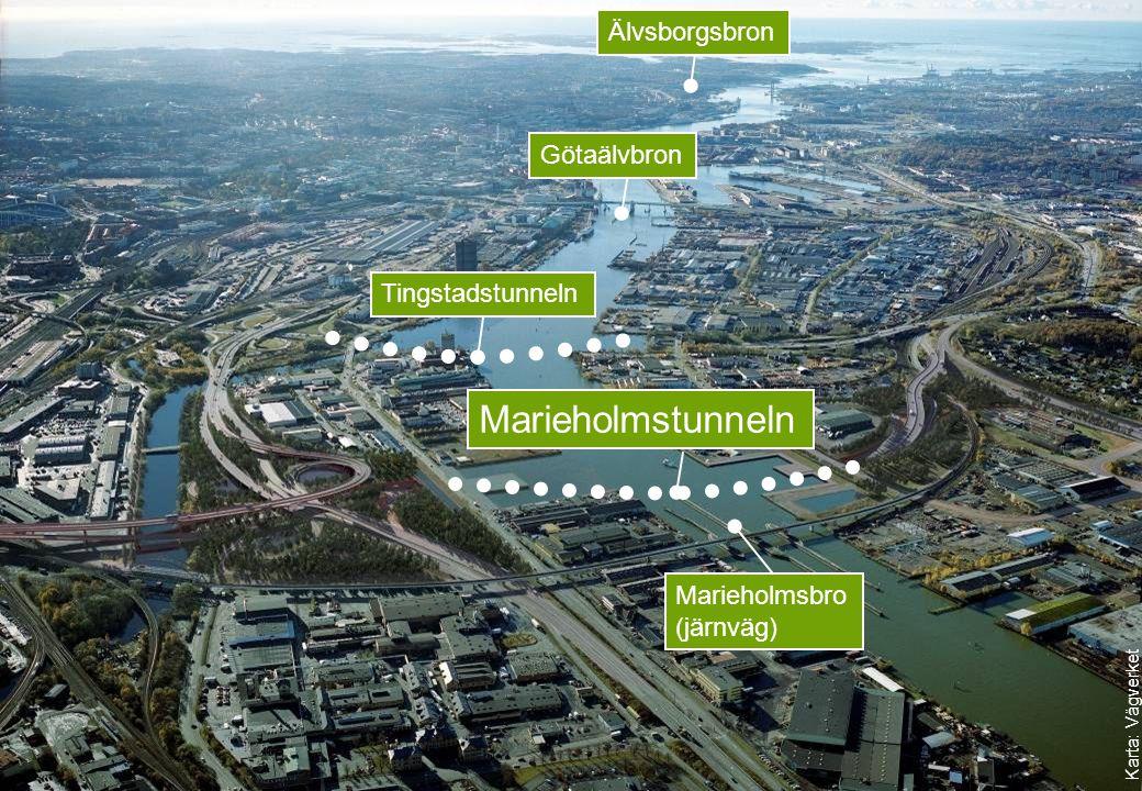 Götaälvbron Marieholmstunneln Karta: Vägverket TingstadstunnelnÄlvsborgsbron Marieholmsbro (järnväg)