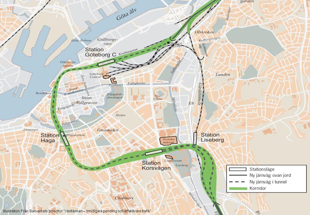 """Illustration: Från Banverkets broschyr """"Västlänken – smidigare pendling och effektivare trafik"""""""
