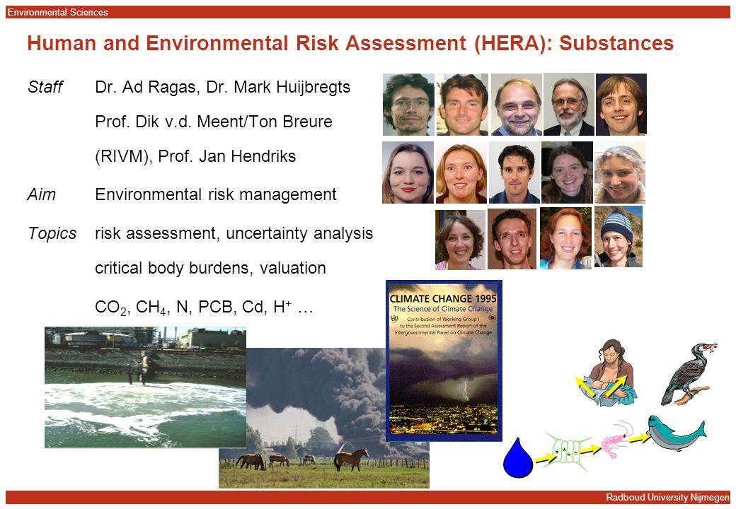 Radboud University Nijmegen Environmental Sciences Human and Environmental Risk Assessment (HERA): Substances StaffDr. Ad Ragas, Dr. Mark Huijbregts P