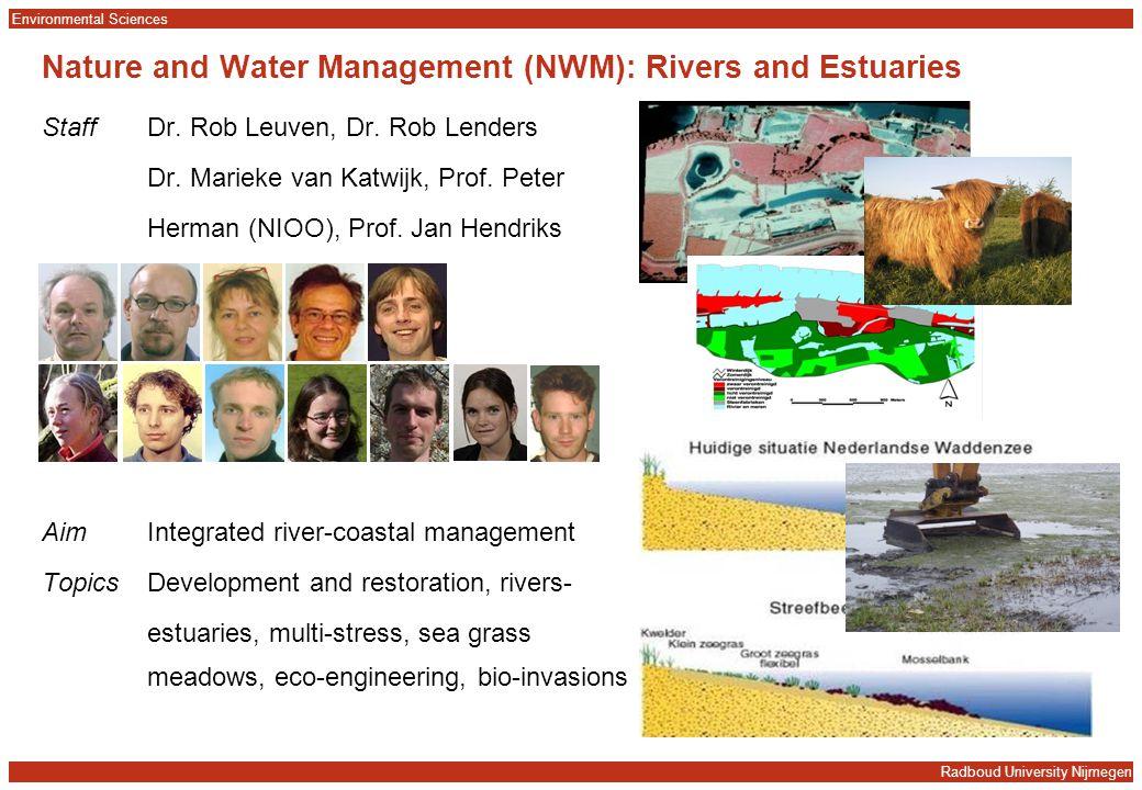 Radboud University Nijmegen Environmental Sciences Nature and Water Management (NWM): Rivers and Estuaries StaffDr. Rob Leuven, Dr. Rob Lenders Dr. Ma