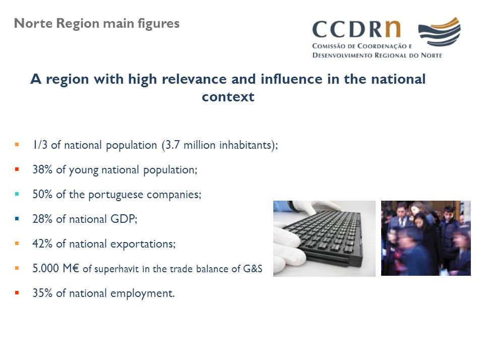 A region with high relevance and influence in the national context  1/3 of national population (3.7 million inhabitants);  38% of young national population;  50% of the portuguese companies;  28% of national GDP;  42% of national exportations;  M€ of superhavit in the trade balance of G&S  35% of national employment.