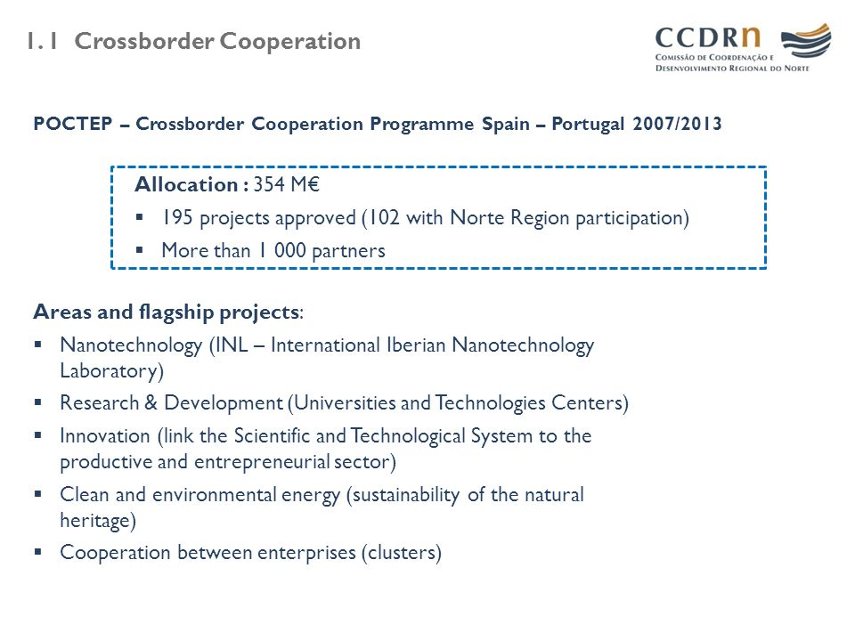 1. 1 Crossborder Cooperation POCTEP – Crossborder Cooperation Programme Spain – Portugal 2007/2013 Allocation : 354 M€  195 projects approved (102 wi