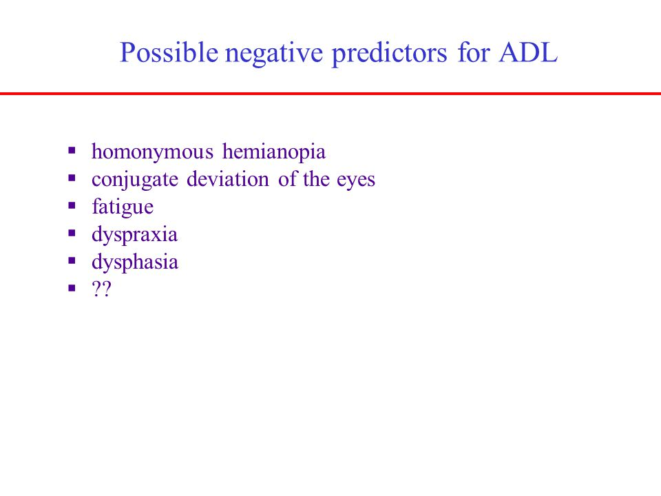 Possible negative predictors for ADL  homonymous hemianopia  conjugate deviation of the eyes  fatigue  dyspraxia  dysphasia  ??