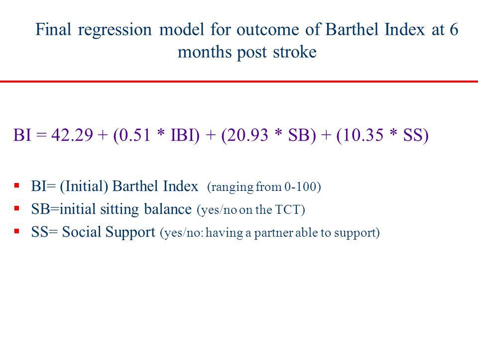 Final regression model for outcome of Barthel Index at 6 months post stroke BI = 42.29 + (0.51 * IBI) + (20.93 * SB) + (10.35 * SS)  BI= (Initial) Ba
