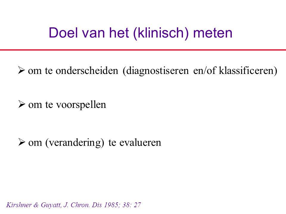 Doel van het (klinisch) meten  om te onderscheiden (diagnostiseren en/of klassificeren) Kirshner & Guyatt, J. Chron. Dis 1985; 38: 27  om te voorspe