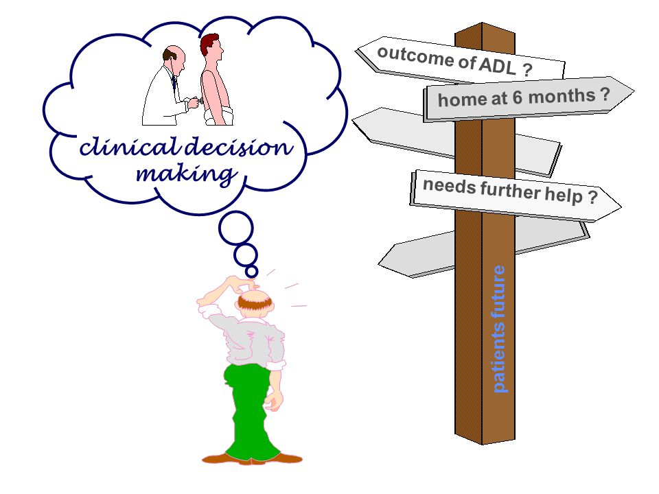 home at 6 months ? outcome of ADL ? needs further help ? clinical decision making patients future