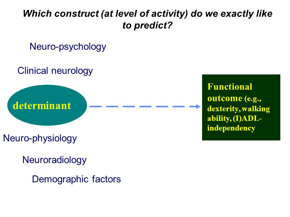 Neuro-physiology Neuroradiology Clinical neurology Neuro-psychology Demographic factors determinant Functional outcome (e.g., dexterity, walking ability, (I)ADL- independency Which construct (at level of activity) do we exactly like to predict?