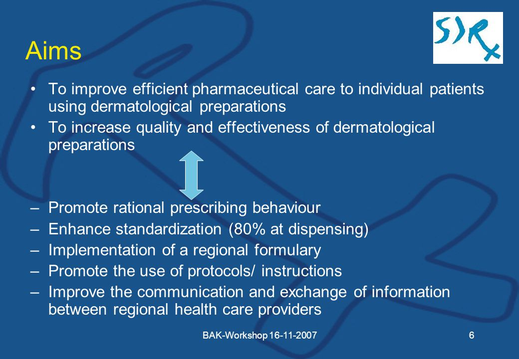 BAK-Workshop Aims To improve efficient pharmaceutical care to individual patients using dermatological preparations To increase quality and effectiveness of dermatological preparations –Promote rational prescribing behaviour –Enhance standardization (80% at dispensing) –Implementation of a regional formulary –Promote the use of protocols/ instructions –Improve the communication and exchange of information between regional health care providers