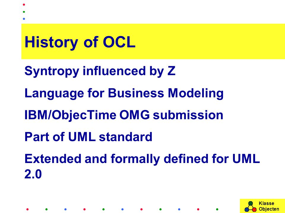 Klasse Objecten History of OCL Syntropy influenced by Z Language for Business Modeling IBM/ObjecTime OMG submission Part of UML standard Extended and formally defined for UML 2.0