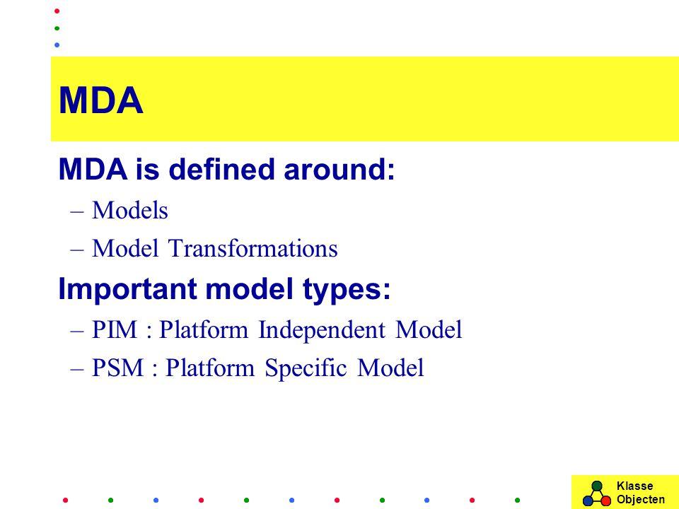 Klasse Objecten MDA MDA is defined around: –Models –Model Transformations Important model types: –PIM : Platform Independent Model –PSM : Platform Specific Model