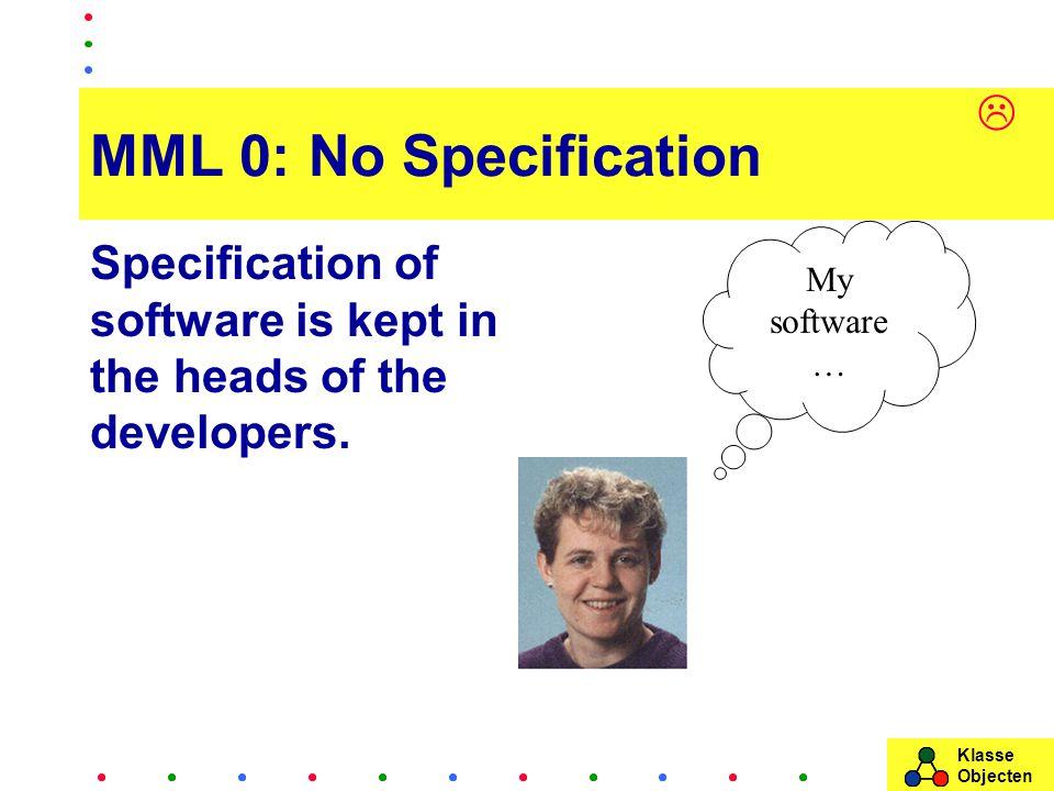 Klasse Objecten MML 0: No Specification Specification of software is kept in the heads of the developers.