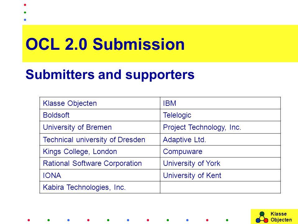Klasse Objecten OCL 2.0 Submission Submitters and supporters Klasse ObjectenIBM BoldsoftTelelogic University of BremenProject Technology, Inc. Technic