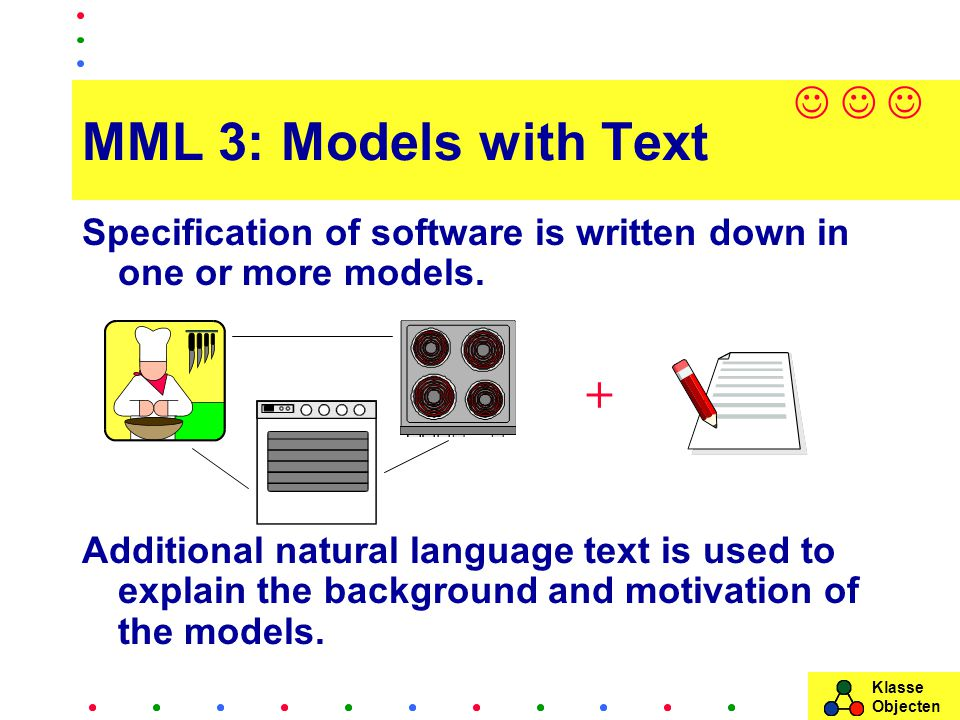 Klasse Objecten MML 3: Models with Text Specification of software is written down in one or more models.