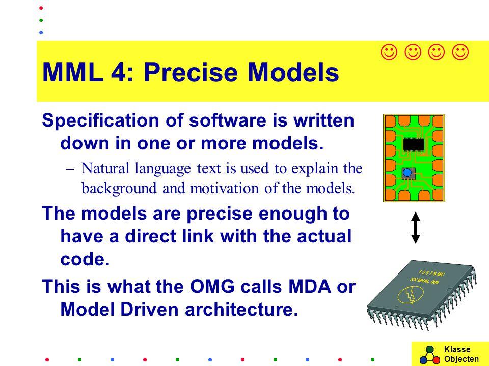 Klasse Objecten MML 4: Precise Models Specification of software is written down in one or more models.