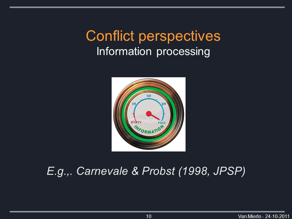 Van Mierlo - 24-10-201110 Conflict perspectives Information processing E.g.,.
