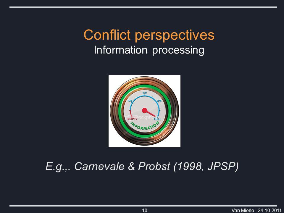 Van Mierlo - 24-10-201110 Conflict perspectives Information processing E.g.,. Carnevale & Probst (1998, JPSP)