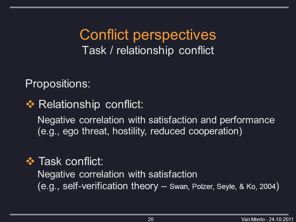 Van Mierlo - 24-10-201120 Conflict perspectives Task / relationship conflict Propositions:  Relationship conflict: Negative correlation with satisfaction and performance (e.g., ego threat, hostility, reduced cooperation)  Task conflict: Negative correlation with satisfaction (e.g., self-verification theory – Swan, Polzer, Seyle, & Ko, 2004 )