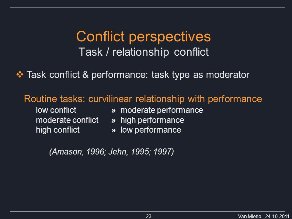 Van Mierlo - 24-10-201123 Conflict perspectives Task / relationship conflict Routine tasks: curvilinear relationship with performance low conflict » moderate performance moderate conflict » high performance high conflict » low performance (Amason, 1996; Jehn, 1995; 1997)  Task conflict & performance: task type as moderator