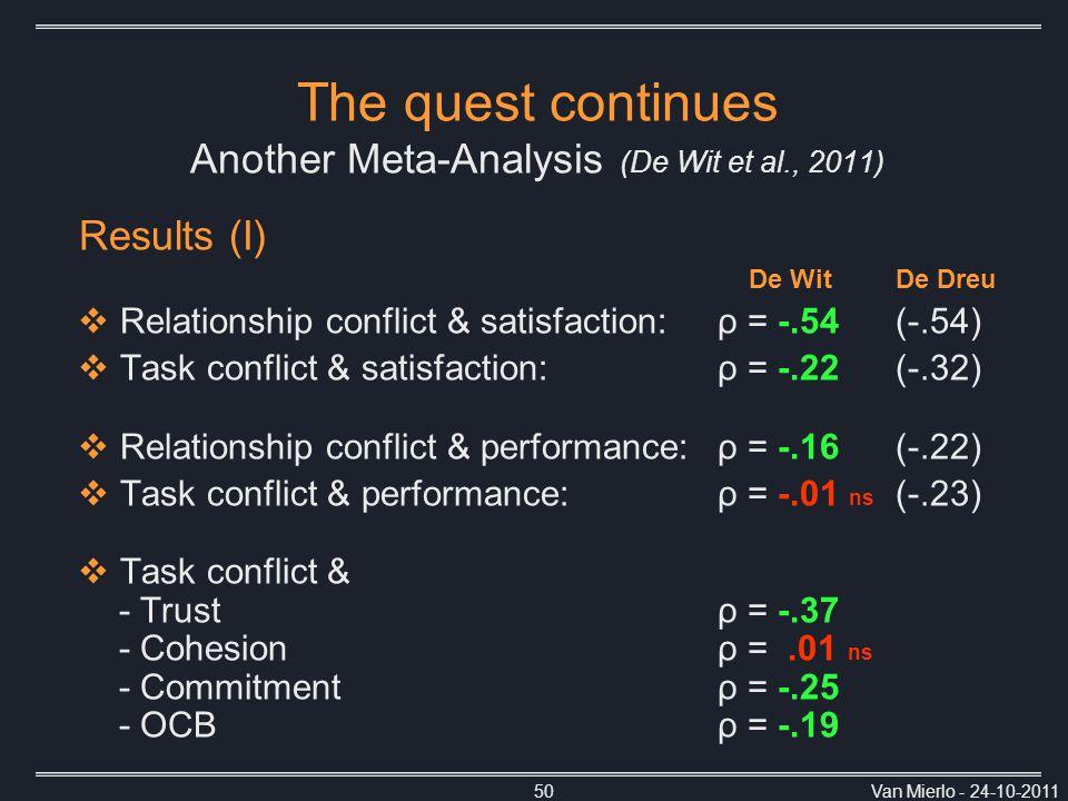 Van Mierlo - 24-10-201150 Results (I) De WitDe Dreu  Relationship conflict & satisfaction:ρ = -.54 (-.54)  Task conflict & satisfaction:ρ = -.22 (-.32)  Relationship conflict & performance:ρ = -.16 (-.22)  Task conflict & performance:ρ = -.01 ns (-.23)  Task conflict & - Trustρ = -.37 - Cohesionρ =.01 ns - Commitmentρ = -.25 - OCB ρ = -.19 The quest continues Another Meta-Analysis (De Wit et al., 2011)