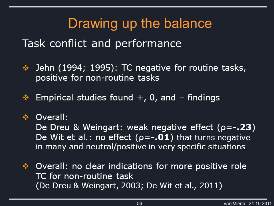 Van Mierlo - 24-10-201156 Task conflict and performance  Jehn (1994; 1995): TC negative for routine tasks, positive for non-routine tasks  Empirical studies found +, 0, and – findings  Overall: De Dreu & Weingart: weak negative effect (ρ=-.23) De Wit et al.: no effect (ρ=-.01) that turns negative in many and neutral/positive in very specific situations  Overall: no clear indications for more positive role TC for non-routine task (De Dreu & Weingart, 2003; De Wit et al., 2011) Drawing up the balance