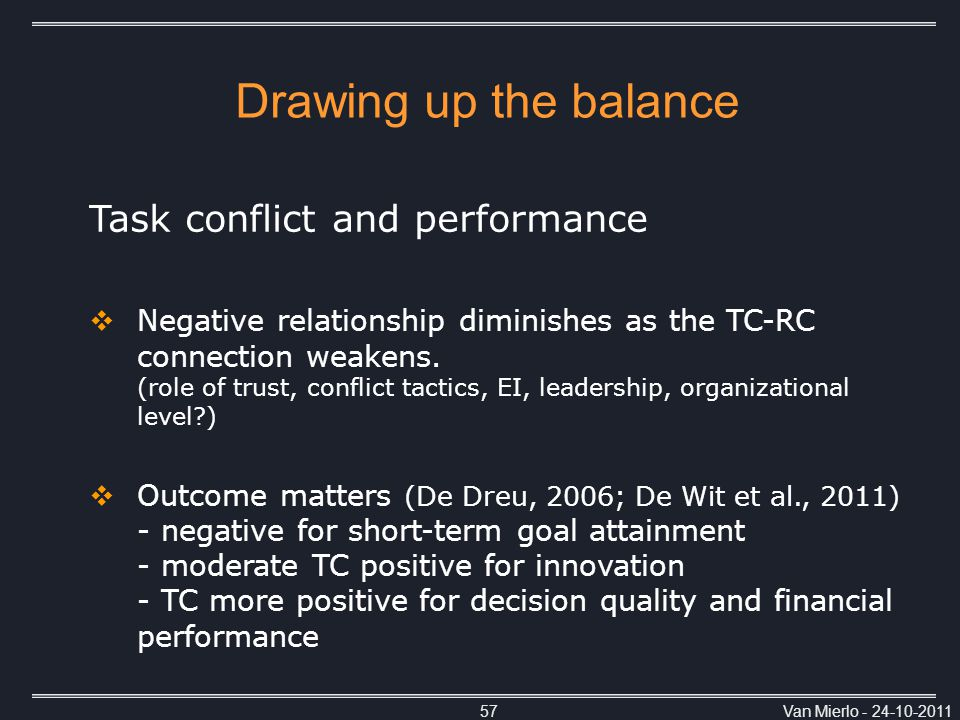 Van Mierlo - 24-10-201157 Task conflict and performance  Negative relationship diminishes as the TC-RC connection weakens.
