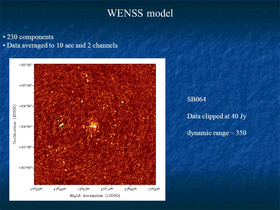 WENSS model 230 components Data averaged to 10 sec and 2 channels SB064 Data clipped at 40 Jy dynamic range ~ 350