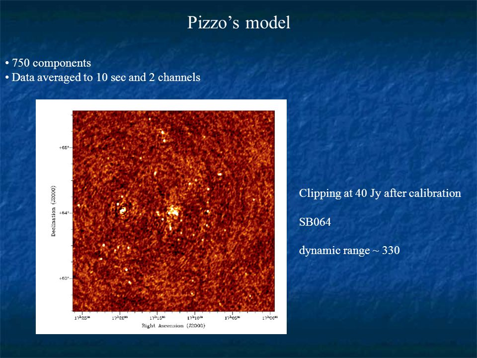 Pizzo's model 750 components Data averaged to 10 sec and 2 channels Clipping at 40 Jy after calibration SB064 dynamic range ~ 330