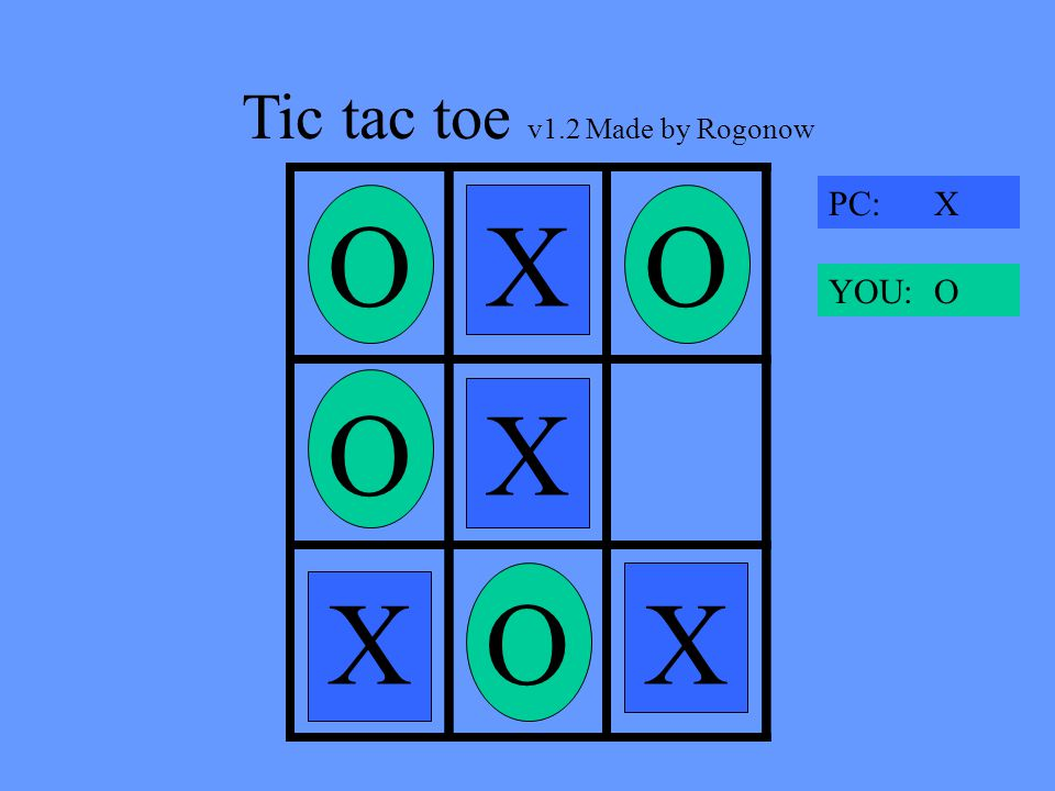 Tic tac toe v1.2 Made by Rogonow X OXO XOX PC: X YOU: O