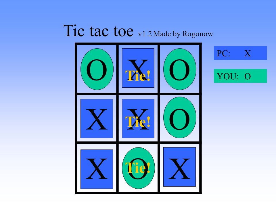 Tic tac toe v1.2 Made by Rogonow X OXO O XOX PC: X YOU: O