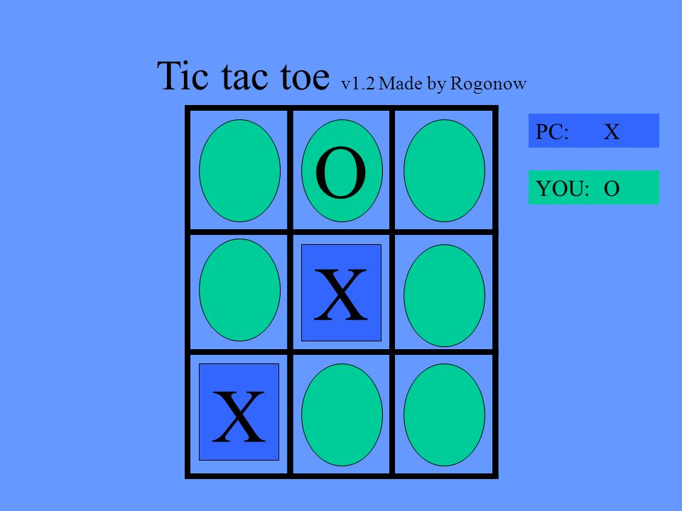 Tic tac toe v1.2 Made by Rogonow X O X PC: X YOU: O