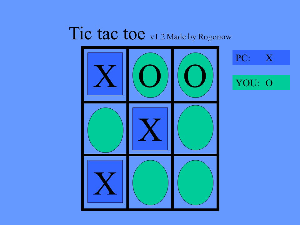 Tic tac toe v1.2 Made by Rogonow X OO X X PC: X YOU: O