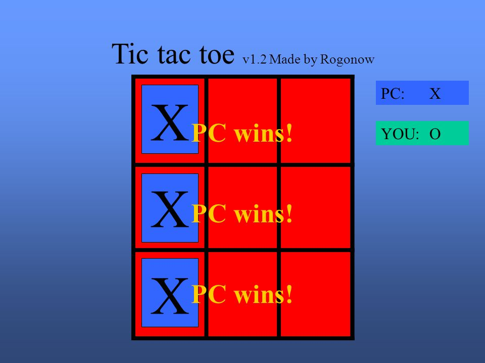 Tic tac toe v1.2 Made by Rogonow X XOO X X PC: X YOU: O
