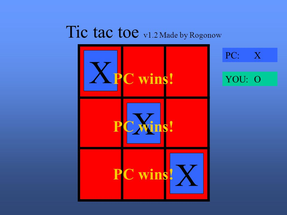 Tic tac toe v1.2 Made by Rogonow X X X X PC: X YOU: O PC wins!