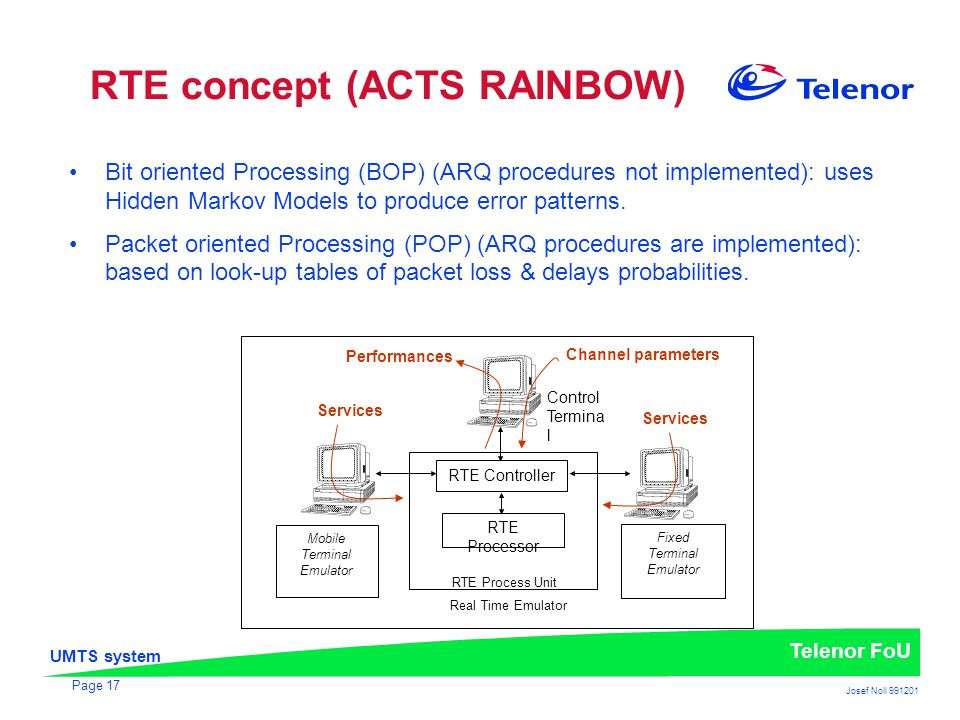 UMTS system Telenor FoU Josef Noll 991201 Page 17 RTE concept (ACTS RAINBOW) Bit oriented Processing (BOP) (ARQ procedures not implemented): uses Hidd