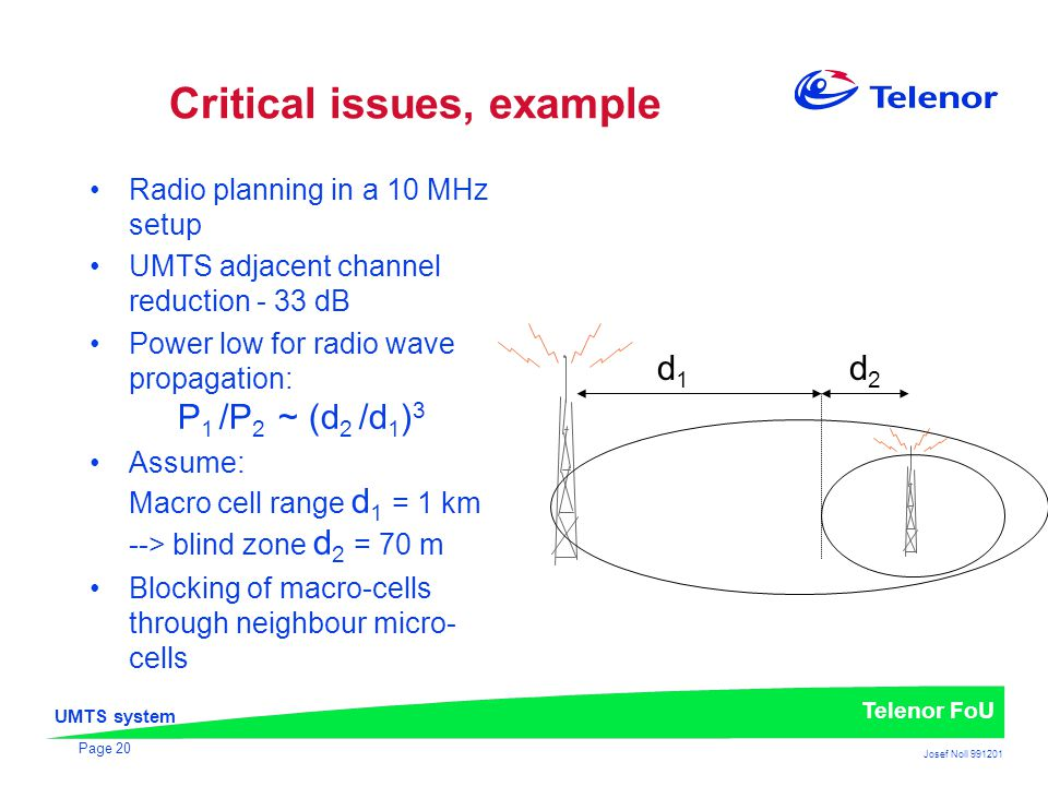 UMTS system Telenor FoU Josef Noll 991201 Page 20 Critical issues, example Radio planning in a 10 MHz setup UMTS adjacent channel reduction - 33 dB Po