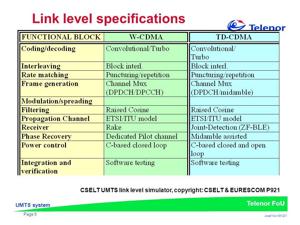 UMTS system Telenor FoU Josef Noll 991201 Page 9 Link level specifications CSELT UMTS link level simulator, copyright: CSELT & EURESCOM P921