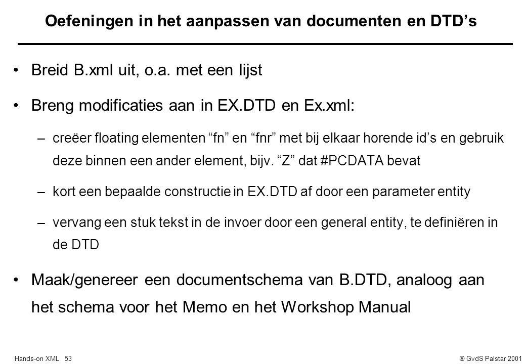 Hands-on XML 53® GvdS Palstar 2001 Oefeningen in het aanpassen van documenten en DTD's Breid B.xml uit, o.a.