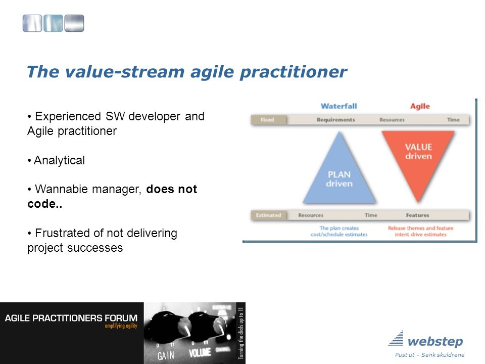 The value-stream agile practitioner Pust ut – Senk skuldrene Experienced SW developer and Agile practitioner Analytical Wannabie manager, does not code..
