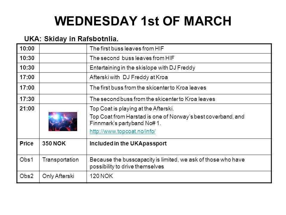 WEDNESDAY 1st OF MARCH UKA: Skiday in Rafsbotnlia.