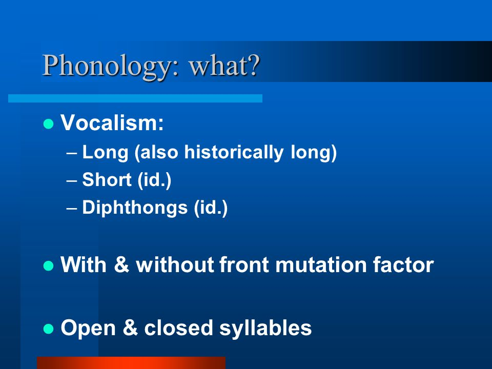 Phonology: what.