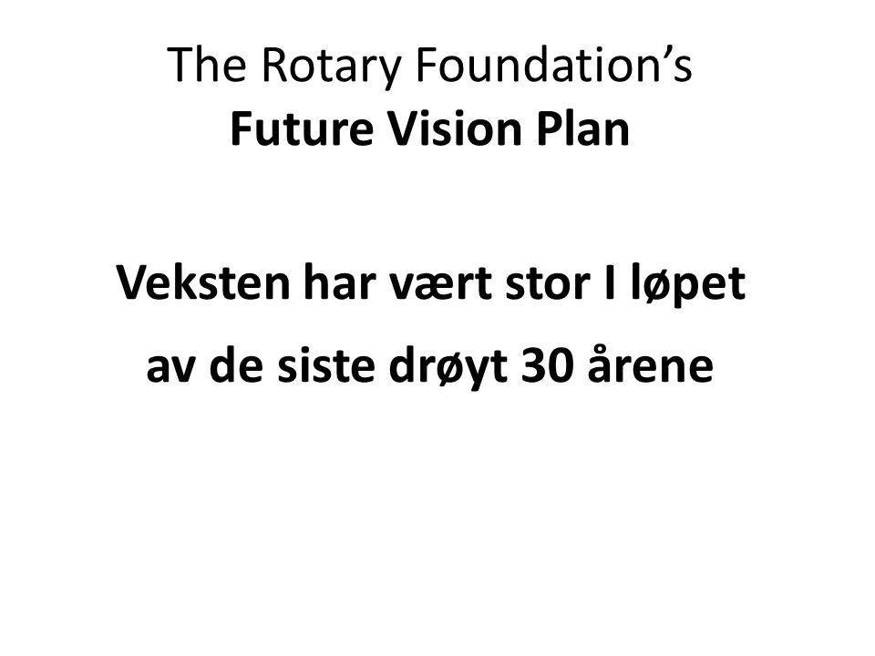 The Rotary Foundation's Future Vision Plan Veksten har vært stor I løpet av de siste drøyt 30 årene