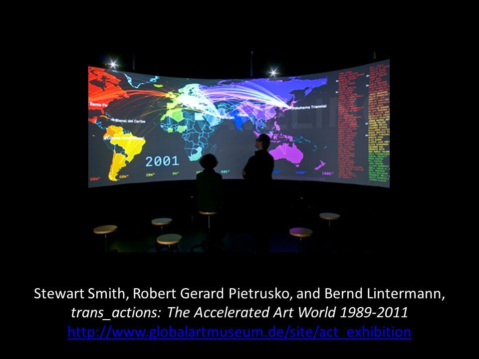 Stewart Smith, Robert Gerard Pietrusko, and Bernd Lintermann, trans_actions: The Accelerated Art World 1989-2011 http://www.globalartmuseum.de/site/act_exhibition http://www.globalartmuseum.de/site/act_exhibition