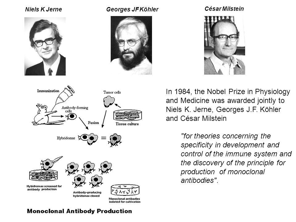 Niels K JerneGeorges JF Köhler César Milstein In 1984, the Nobel Prize in Physiology and Medicine was awarded jointly to Niels K. Jerne, Georges J.F.