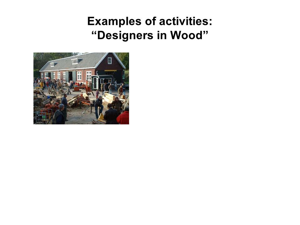 Examples of activities: Designers in Wood