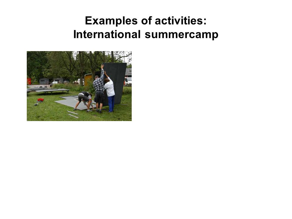 Examples of activities: International summercamp