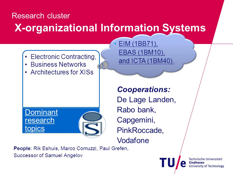 Research cluster X-organizational Information Systems People: Rik Eshuis, Marco Comuzzi, Paul Grefen, Successor of Samuel Angelov Electronic Contracting, Business Networks Architectures for XISs Dominant research topics Cooperations: De Lage Landen, Rabo bank, Capgemini, PinkRoccade, Vodafone EIM (1BB71), EBAS (1BM10), and ICTA (1BM40).