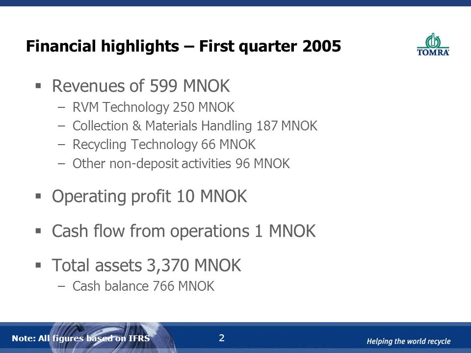 2 Financial highlights – First quarter 2005  Revenues of 599 MNOK –RVM Technology 250 MNOK –Collection & Materials Handling 187 MNOK –Recycling Technology 66 MNOK –Other non-deposit activities 96 MNOK  Operating profit 10 MNOK  Cash flow from operations 1 MNOK  Total assets 3,370 MNOK –Cash balance 766 MNOK Note: All figures based on IFRS