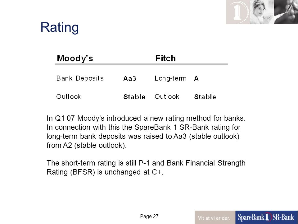 Page 27 Rating In Q1 07 Moody's introduced a new rating method for banks.