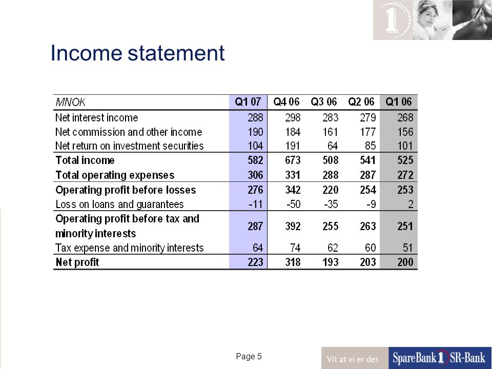 Page 5 Income statement